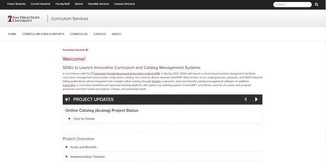 San Diego State University Curriculum Services
